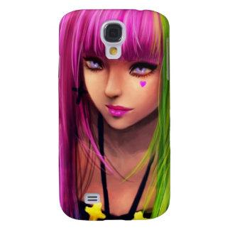 Chica con el pelo rosado funda para galaxy s4