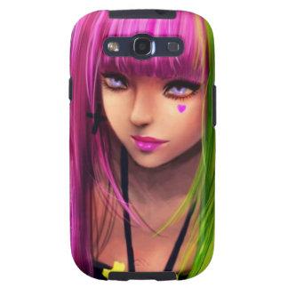 Chica con el pelo rosado galaxy s3 fundas