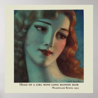 Chica con el pelo rubio largo de Wladyslaw Benda Posters