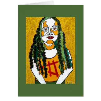 Chica con el pelo verde tarjeton