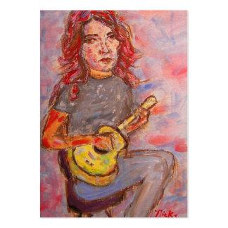 chica con el pelo y el ukulele rojos tarjetas de visita grandes