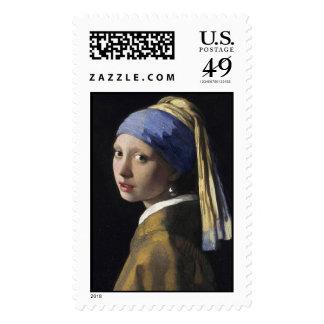 Chica con el pendiente del Perl - franqueo Stampa Timbre Postal
