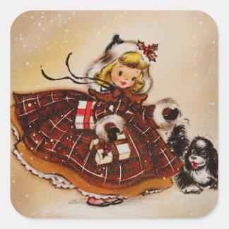 Chica con el perrito del navidad pegatina cuadrada
