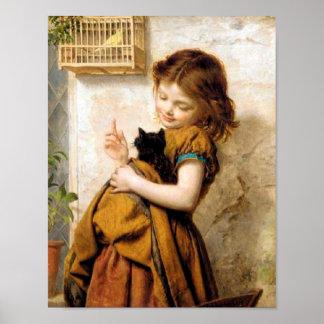 Chica con el poster del gato póster