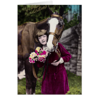 Chica con flores y un caballo de la castaña tarjeta