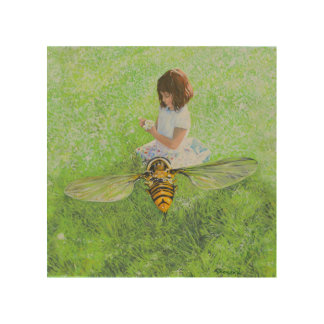 """Chica con la abeja de Steve Berger 8"""""""" arte de Impresión En Madera"""
