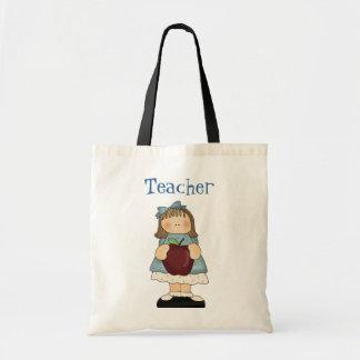 Chica con la bolsa de asas del profesor de Apple