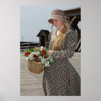 Chica con la cesta de flores póster
