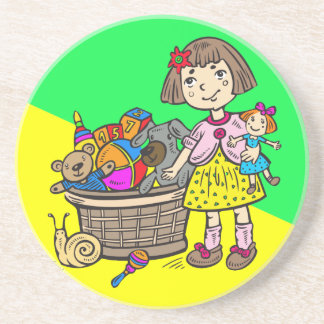 Chica con la cesta de juguetes posavaso para bebida