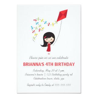 """Chica con la fiesta de cumpleaños de los chicas de invitación 4.5"""" x 6.25"""""""