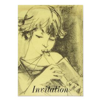 Chica con la invitación de la flauta