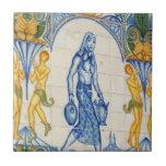Chica con la jarra azulejos ceramicos