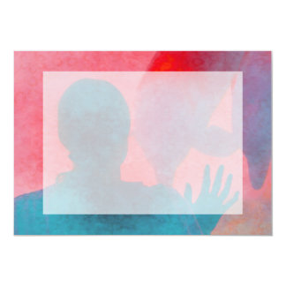 """Chica con la mano para arriba por el rosa azul del invitación 5"""" x 7"""""""
