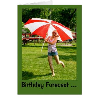 Chica con la ocasión del paraguas el 100% de la tarjeta de felicitación