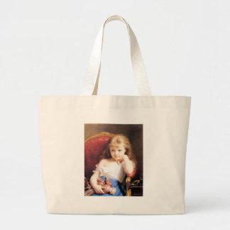 Chica con la pintura de la antigüedad de la muñeca bolsa
