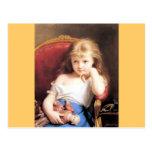 Chica con la pintura de la antigüedad de la muñeca tarjetas postales