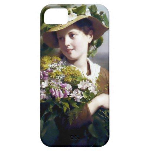 Chica con la pintura de las flores y del gorra iPhone 5 Case-Mate funda