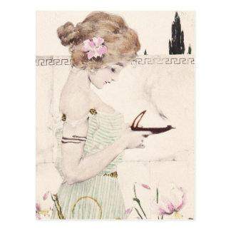 Chica con la postal de Nouveau del arte de la lámp