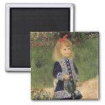 Chica con la regadera, Renoir, arte del Imán Cuadrado