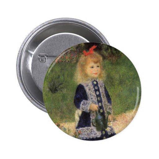 Chica con la regadera, Renoir, arte del Pin Redondo 5 Cm