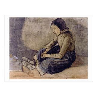 Chica con la sentada negra del casquillo, Vincent Tarjetas Postales