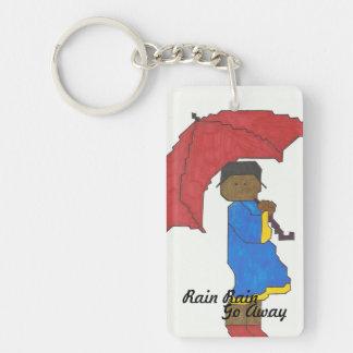 Chica con llavero rojo del paraguas