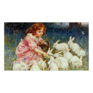 Chica con los conejos tarjetas de visita