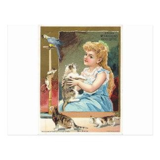 Chica con los gatitos postales