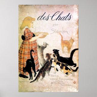 Chica con los gatos, Alejandro Steinlen Poster
