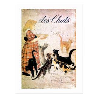 Chica con los gatos, Alejandro Steinlen Tarjeta Postal