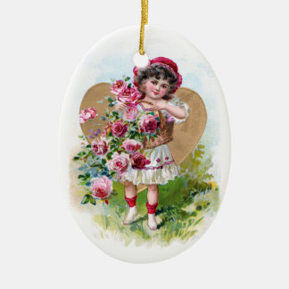 Chica con los rosas adorno navideño ovalado de cerámica