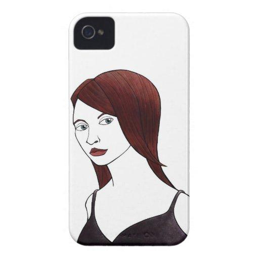 chica con mirada oblicua Case-Mate iPhone 4 coberturas
