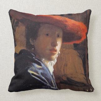 Chica con Red Hat, c.1665 (aceite en el panel) Almohadas