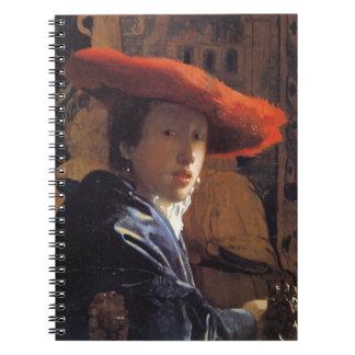 Chica con Red Hat c 1665 aceite en el panel Libro De Apuntes