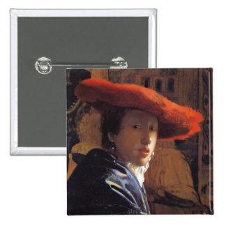 Chica con Red Hat, c.1665 (aceite en el panel) Pin Cuadrada 5 Cm