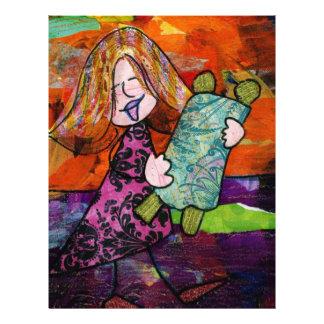 Chica con Torah Plantillas De Membrete