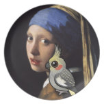 Chica con un Cockatiel de la perla Platos Para Fiestas