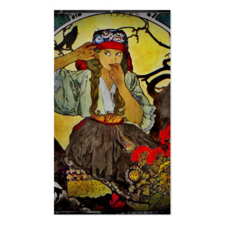 Chica con un cuervo tarjetas de visita