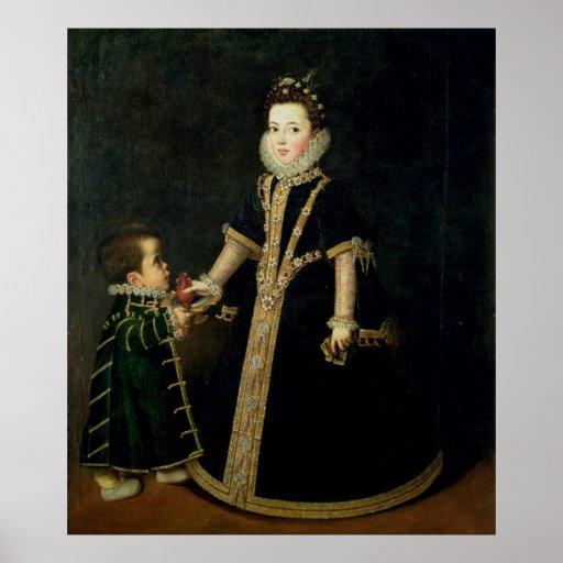Chica con un enano, probablemente un retrato poster