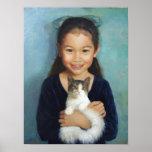 Chica con un gato impresiones