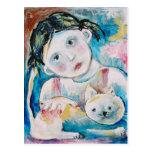 chica con un gato tarjeta postal