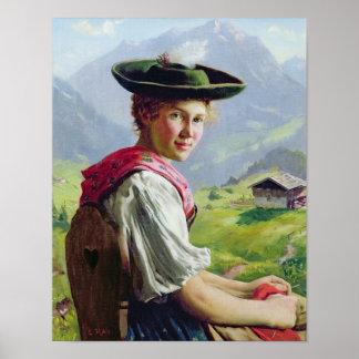 Chica con un gorra en paisaje de la montaña póster