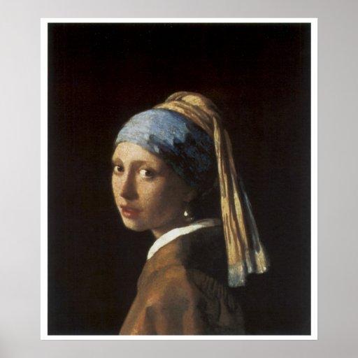 Chica con un pendiente C. 1665-66 de la perla Póster