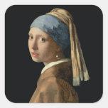 Chica con un pendiente de la perla, c.1665-6 pegatina cuadrada