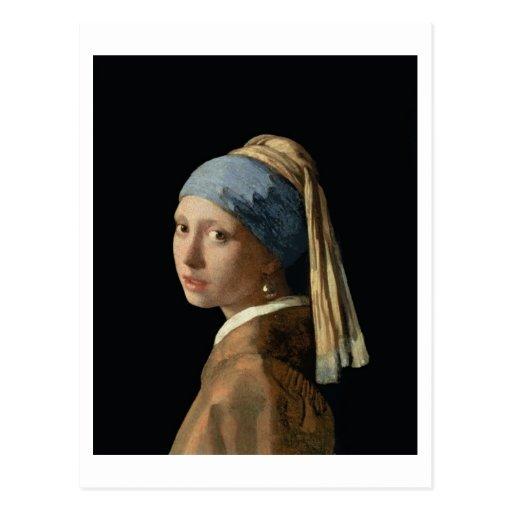 Chica con un pendiente de la perla, c.1665-6 tarjetas postales