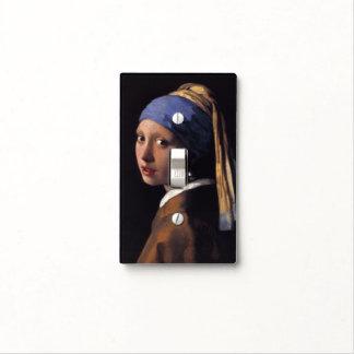 Chica con un pendiente de la perla - cubierta de placa para interruptor