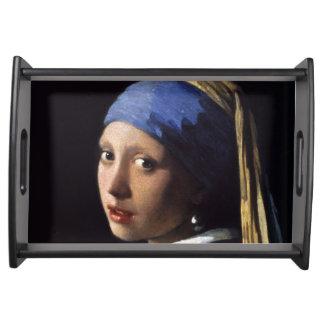 Chica con un pendiente de la perla de Juan Vermeer Bandeja