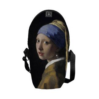 Chica con un pendiente de la perla de Juan Vermeer Bolsas De Mensajeria