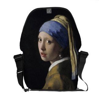 Chica con un pendiente de la perla de Juan Vermeer Bolsa Messenger