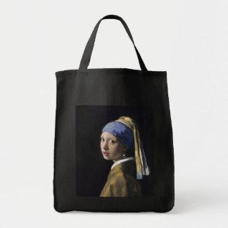 Chica con un pendiente de la perla de Juan Vermeer Bolsas De Mano